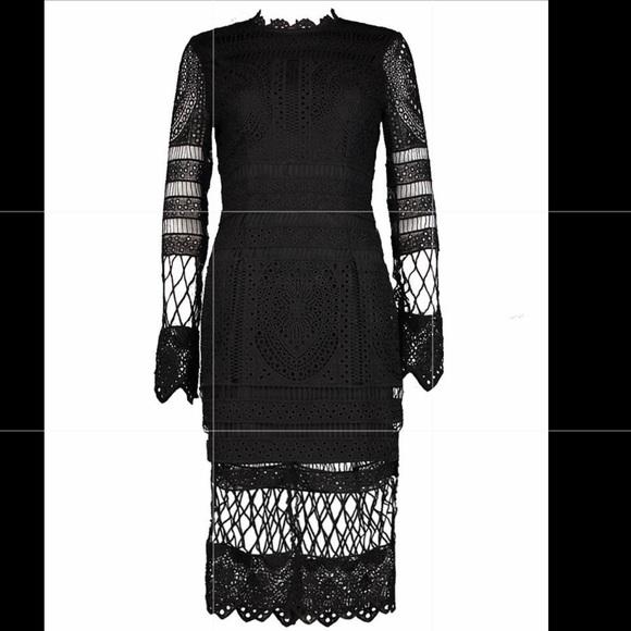 74a8c1b59844f Boohoo Dresses | Black Lace Dress Midi Long Sleeve | Poshmark
